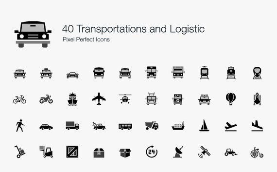 Transportation And Logistic Icons Symbol Sign Pictogram Vector Etsy