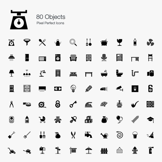 Objects Icons Symbol Sign Pictogram In Set Bundle Vector Eps Etsy