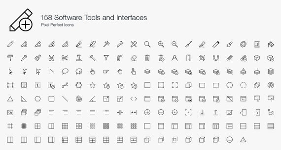 Software Tools User Interfaces Icons Symbol Sign Pictogram Etsy