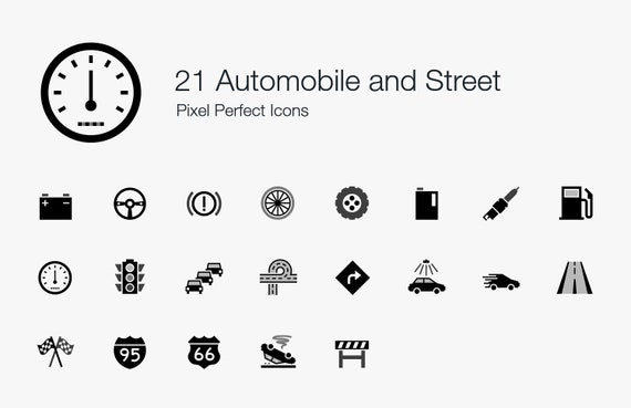 21 Automobile And Street Icons Sign Symbol Pictogram Set Etsy