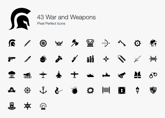 War Weapons Battle Icons Pictogram Sign Symbol Vector Eps Png Etsy