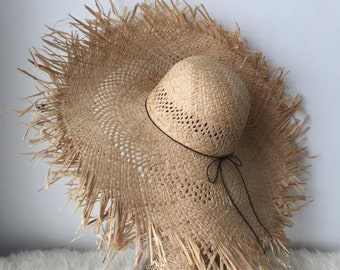 724cbba4f0f6e3 design beach summer fashion chic accessories beauty sophisticated black extra  wide brim natural fray Straw hat