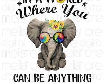 72928dddb In a world where you can be anything be kind svg, hippie svg, elephant  hippie Svg, Eps, pdf, Dxf - Digital Print Design