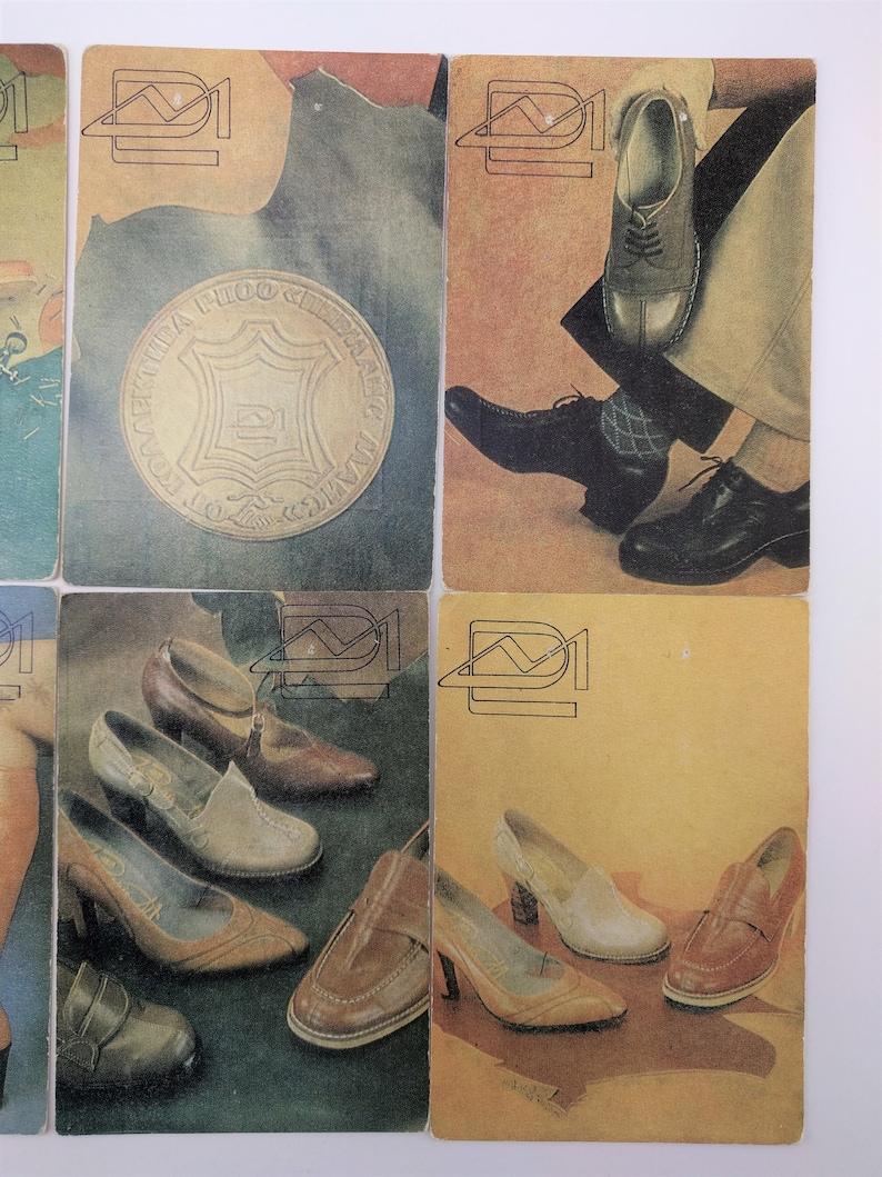 USSR calendars collectible calendar pocket calendars 1980s Vintage soviet calendar set leather footwear set of 8 unique calendars 1980