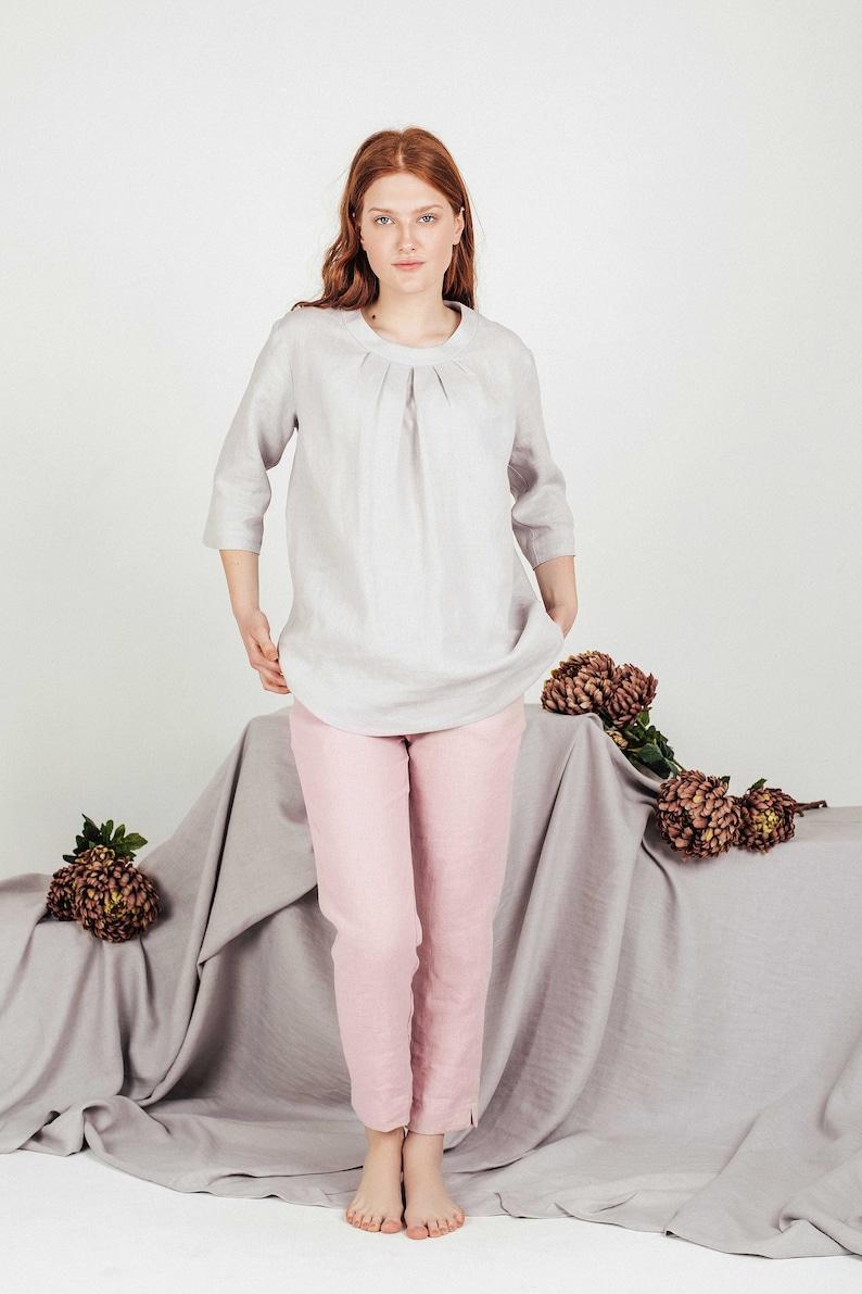 Light Gray loose linen top blouse with 34 sleeves for women SAORSA Soft linen light gray blouse linen fashion for women