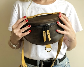 Leather Fanny Pack, Bum Bag, Belt Bag, Crossbody Bag, Leather Gift for women, Anniversary Gift Gift for her Handmade Leather bag