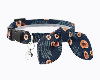 cat collar - breakaway cat collar with bow tie and bell - miionz moonlight