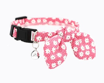 cat collar - breakaway cat collar with bow tie and bell - miionz starburst pink