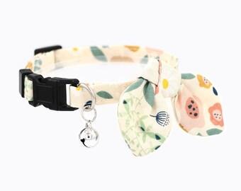 cat collar - breakaway cat collar with bow tie and bell - miionz dandelion