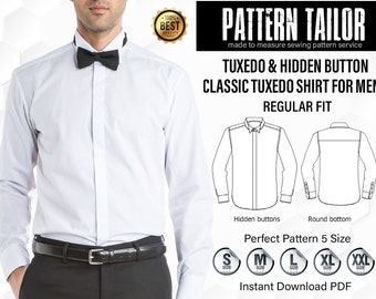 81904529a525 Wedding Texedo Shirt Sewing Pattern | Hidden tuxedo shirts sewing pattern  PDF , Easy to sewing pattern