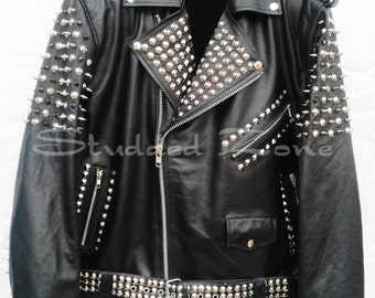 1093adf606e3a6 Handmade Customized Mens Punk Rock Black Full Silver Long Spiked Studded  Cropped Button Up Unique Vintage Biker Leather Jacket All Sizes