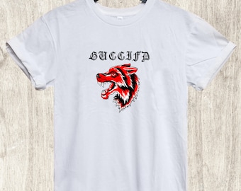 58a84eff3 Gucci Guccifd Wolf Shirt Tshirt T-shirt, Gucci Tshirt, Gucci Shirt Men  Women Kids, Gucci Inspired, Gucci Clothing, Luxury Shirt, Designer