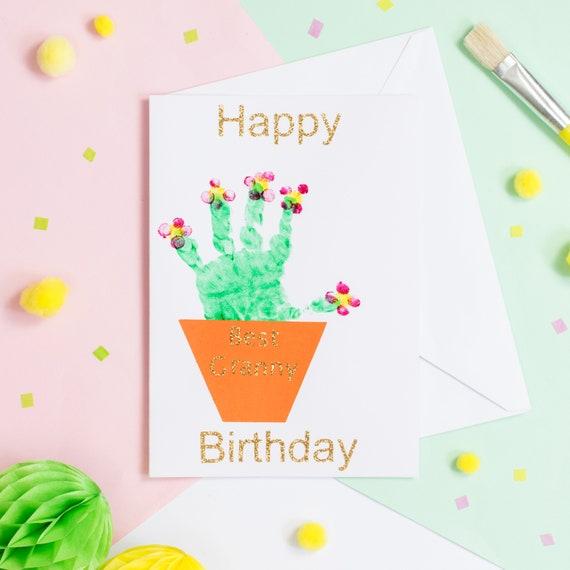 Happy Birthday Handmade Handprint Card Etsy