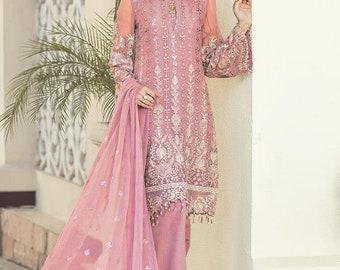 04e35d24d2 Embroidery Faux Georgette Pink Indian Pakistani Ethnic Shalwar Kameez  Dupatta ready to wear JAJ-G078