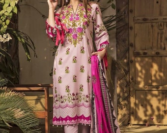 abb73cd4ee Printed Cotton Pink Indian Pakistani Ethnic Shalwar Kameez Dupatta ready to  wear JAJ-H047