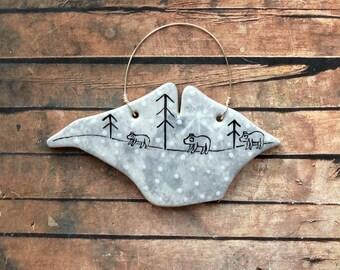 Handmade 'Polar bear family' ceramic Isle of Wight decoration (small) - Little Bear Pottery