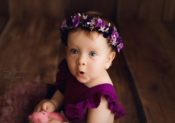 Plum Baby Girl and Toddler Flower   Headband Lavender Lilac and White Newborn Floral Hydrangea headband Pink Baby Infant Flower Halo