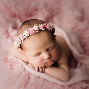 floral crown,flower halo,newborn photography,real flower halo photoshoot prop,baby halo,holiday headpiece Unique beige natural headband