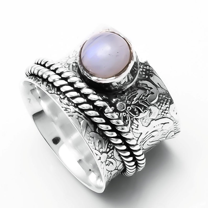 925 Sterling Silver Band Spinner Ring Jewelry Moonstone Handmade All Size DO-47