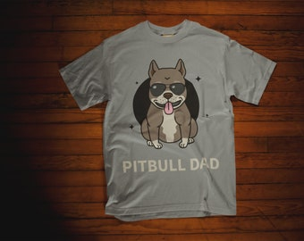 9603cca5 Funny Pitbull Dad Shirt | Pitbull Father Gift T-shirt for Mens | Print Dog  Dad Gift Father Day | Pitbull Art Dog Print Tshirt for Adult