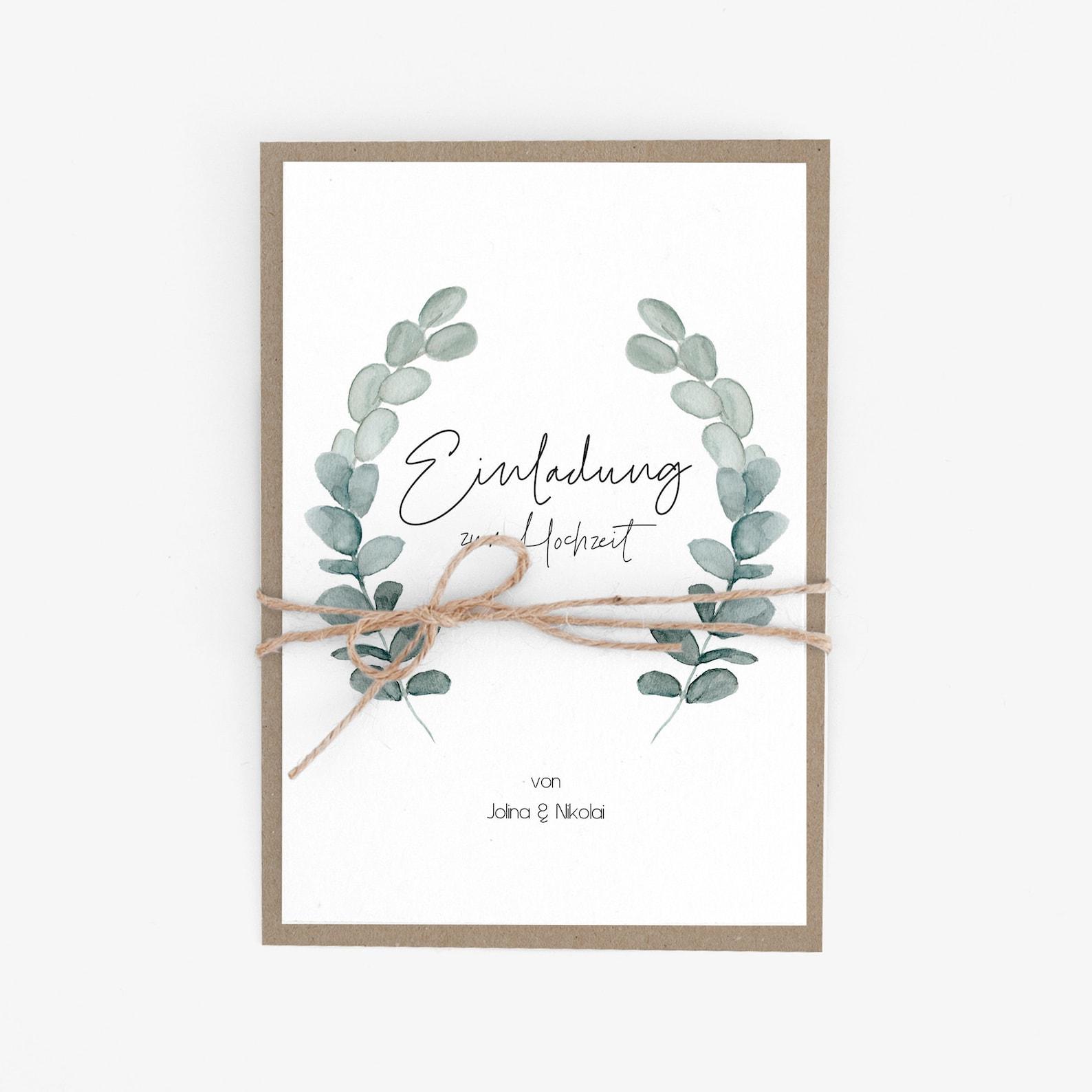 Hochzeitseinladung nachhaltig mit Eukalyptus