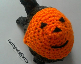 Crochet Jack O Lantern Turtle Tortoise Costume,  Will O The Wisp Turtle Sweater Cozy Tops, Pet clothing Hoodies, Reptile Clothing
