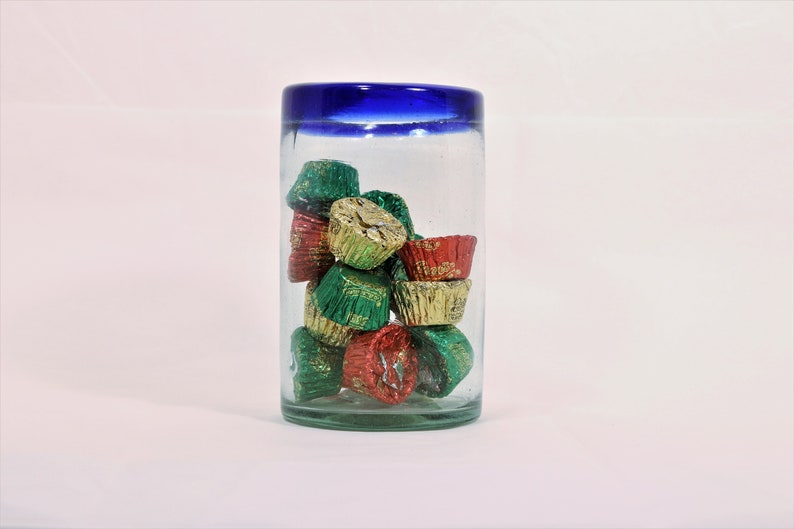 Art glass Vase Office Desk Decor, Clear and Blue Art Glass Candy Holder Pen and Pencil Holder