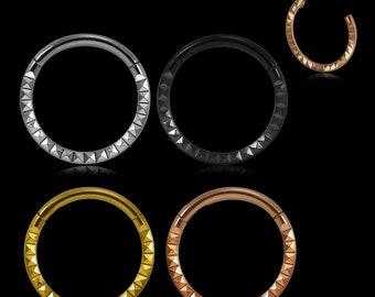 Hinged Segment Ring Surgical Steel 16G = 1.2mm hoop Pyramid laser Cut Design Septum Ring Cartilage Earring