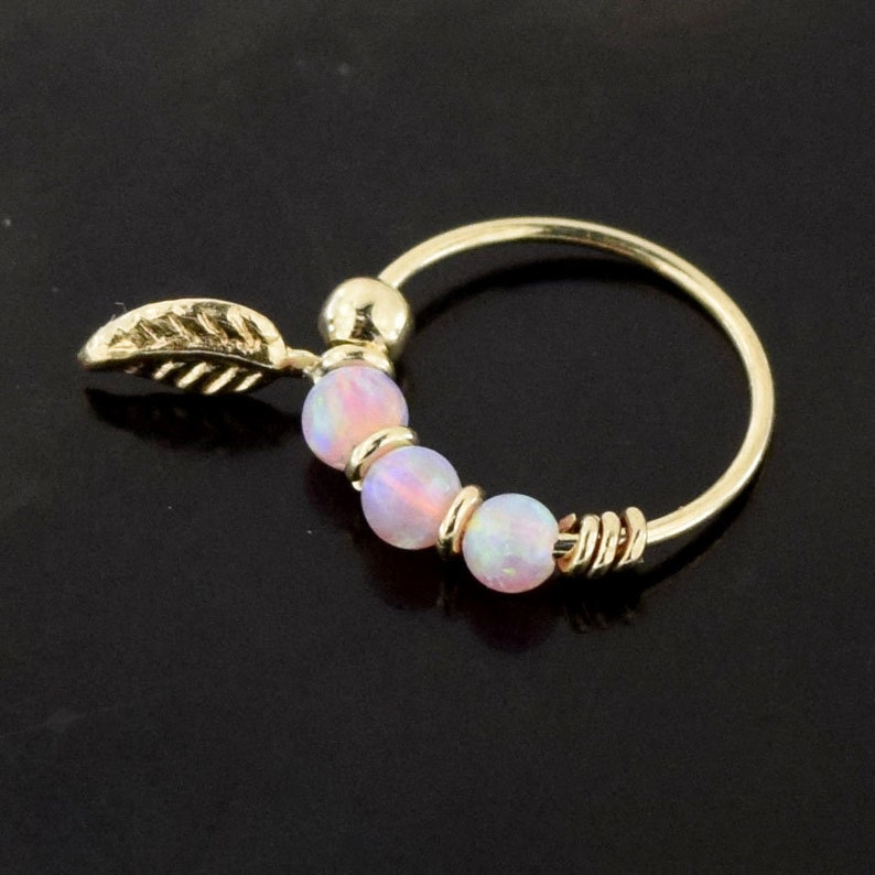 9ct Solid Yellow Gold Pink Opal Stones with Leaf Hoop Ring Nose Piercing Ring Jewellery 22 Gauge 8 mm Diameter Ring