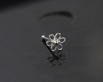 Filigree Flower Nose Stud, Sterling Silver -  Nose Bone Style Nose Ring -  Cute Bone Nose Ring