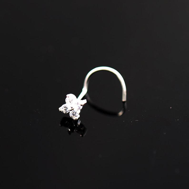 Thin Nose Ring Nose Screw or L Bend Nose Ring Sterling Silver Nose Stud Crystal Flower Nose Stud 22 Gauge