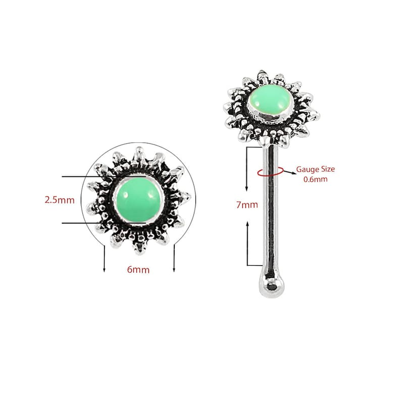 Tribal Nose Ring Nose Bone Bali Sun Nose Stud Multiple Colours Available 22G Nose Stud Thin Nose Ring Sterling Silver Nose Stud