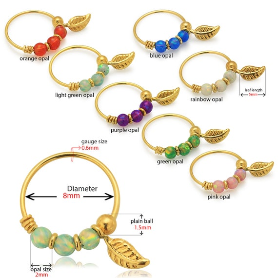 9ct Solid Yellow Gold Aurora Borealis Opal Stones with leaf Hoop Ring Nose Piercing Jewellery 22 Gauge 8 mm Diameter Ring