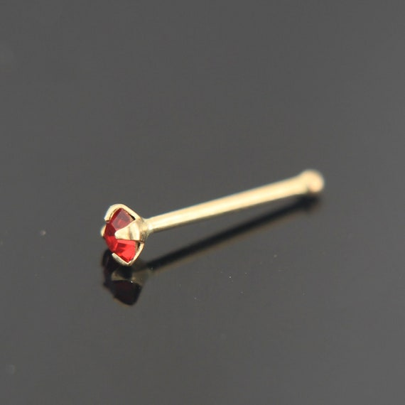 9ct Yellow Gold Pink Clear Stone Nose Stud New