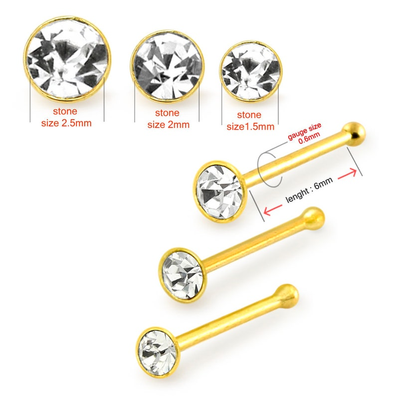 3Pcs in Box 3 Sizes Round Clear Gemstone Nose Stud 9ct Gold Nose Studs 22G Nose Stud Thin Nose Ring Nose Bone