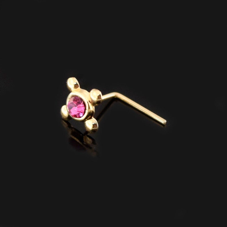 22 Gauge Nose Ring Dainty Nose Stud Pink Gemstone Nose Stud with Four Dots L Shaped Nose Ring Boho Nose Stud 9ct Gold Nose Ring