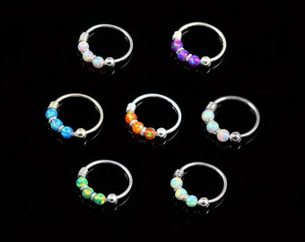 Opal Beaded Nose Ring Hoop- Sterling Silver Nose Ring- Thin Nose Ring- 22 Gauge Nose Ring