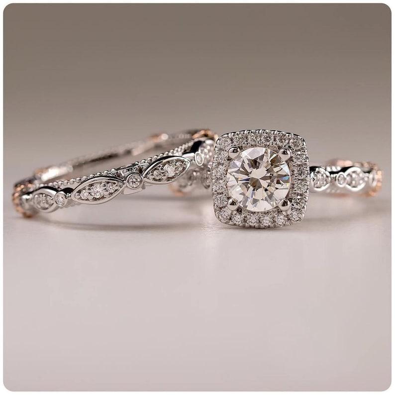 2.00 Ct White Moissanite Ring Halo Engagement Ring Bridal Set Engagement Ring Bridal Set Wedding Ring 10KT White Gold Ring