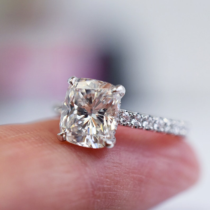 2.50 Ct Colorless Cushion Cut Moissanite Solitaire Wedding Ring in 14KT White Gold Anniversary Ring Engagement Ring