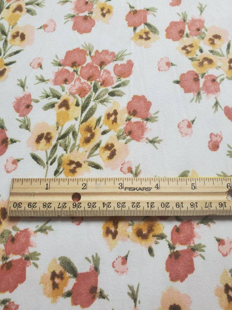 creamy white with small floral #0112104 Double brushed knit fabric DBP fabric by the yard double brushed