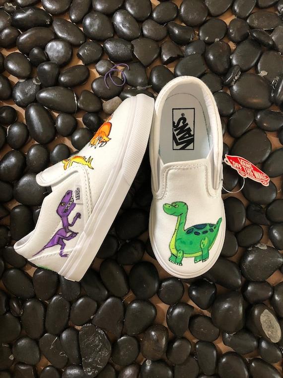 Toddler Custom Dinosaur Vans Slip Ons
