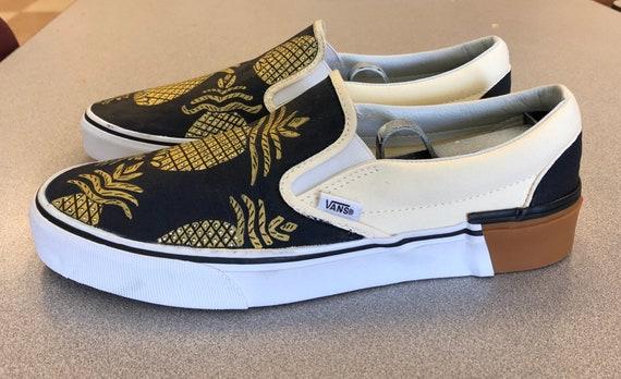 Custom Pineapple Vans Navy Blue and