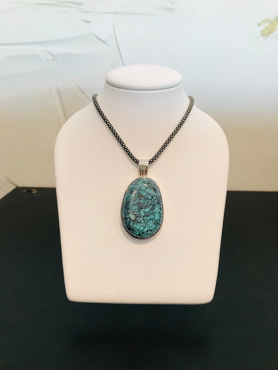 Spiderweb Turquoise Pendant in Sterling Silver