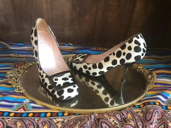 Céline Vintage Cowhide Fur Shoes | 1970s Heels | B
