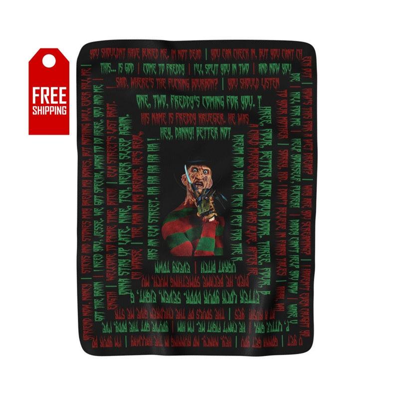 Freddy Krueger Sherpa Fleece Blanket Freddy Krueger Blanket Halloween  Blanket Horror Blanket Horror Movie Freddy Glove Gift For Her Him