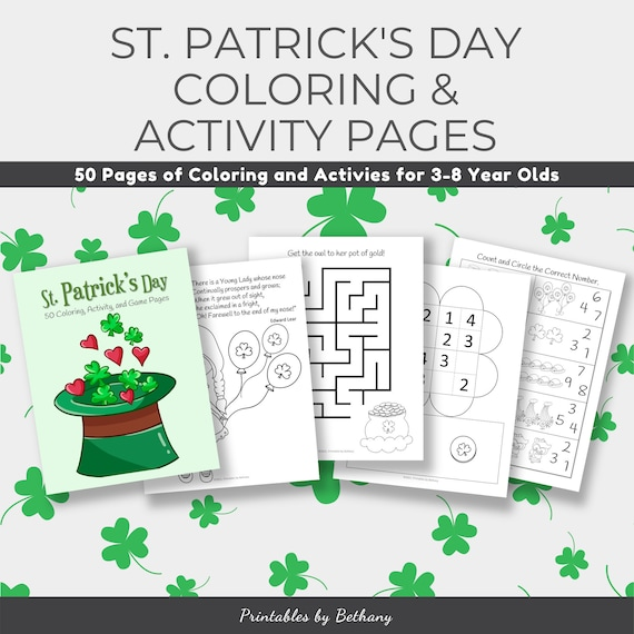 50 Pages of St. Patrick's Day Coloring and Activity Pages
