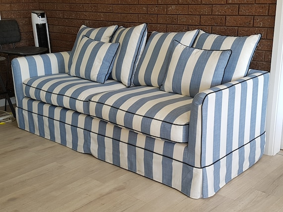 Miraculous Custom Hamptons Striped Sofa 3 Seater Lounge Blue Denim White Stripe Creativecarmelina Interior Chair Design Creativecarmelinacom