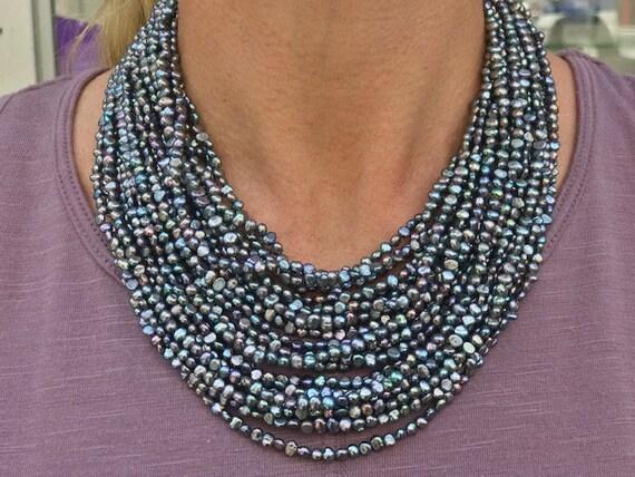 "Stormy Singular ""Audrey Hepburn"" Pearls 14k Gold B"