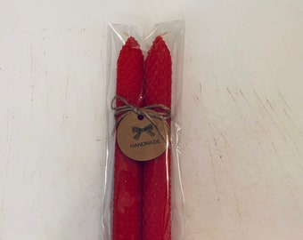 Patriotic Bundle 8 Inch Hand Rolled Beeswax Candle Sticks