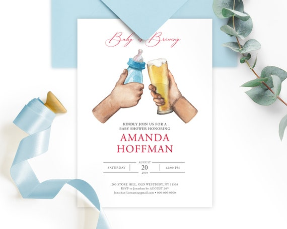 Baby Is Brewing Baby Shower Invitation Card Printable Digital Printed Invitations